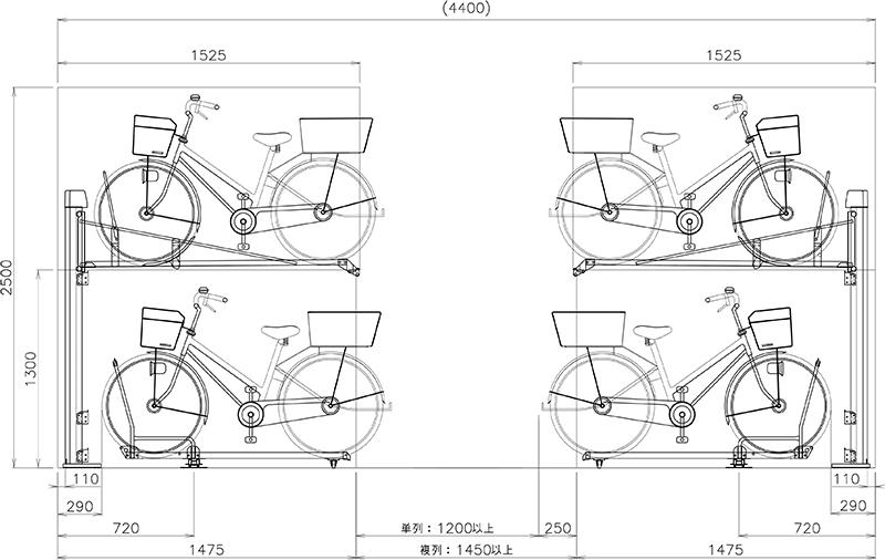 側面図(上段:ARS型前入れ 下段:ATG-2A型)
